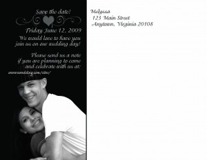 "Custom ""Save the Date"" Cards, back"