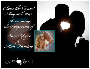 """Custom """"Save the Date"""" cards, front"""